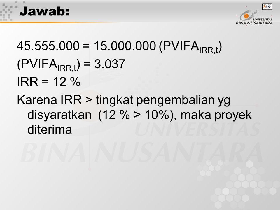 Jawab: 45.555.000 = 15.000.000 (PVIFAIRR,t) (PVIFAIRR,t) = 3.037. IRR = 12 %