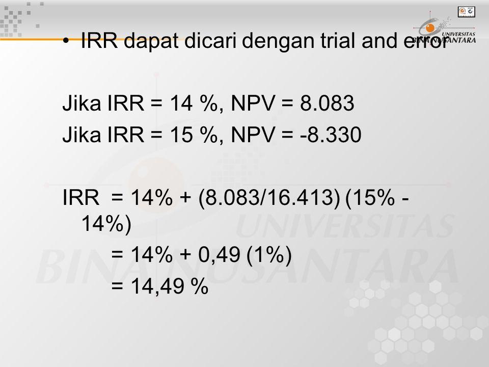 IRR dapat dicari dengan trial and error