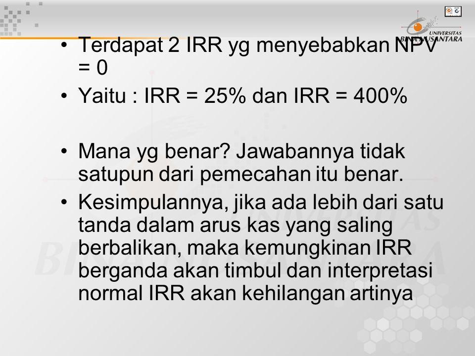 Terdapat 2 IRR yg menyebabkan NPV = 0