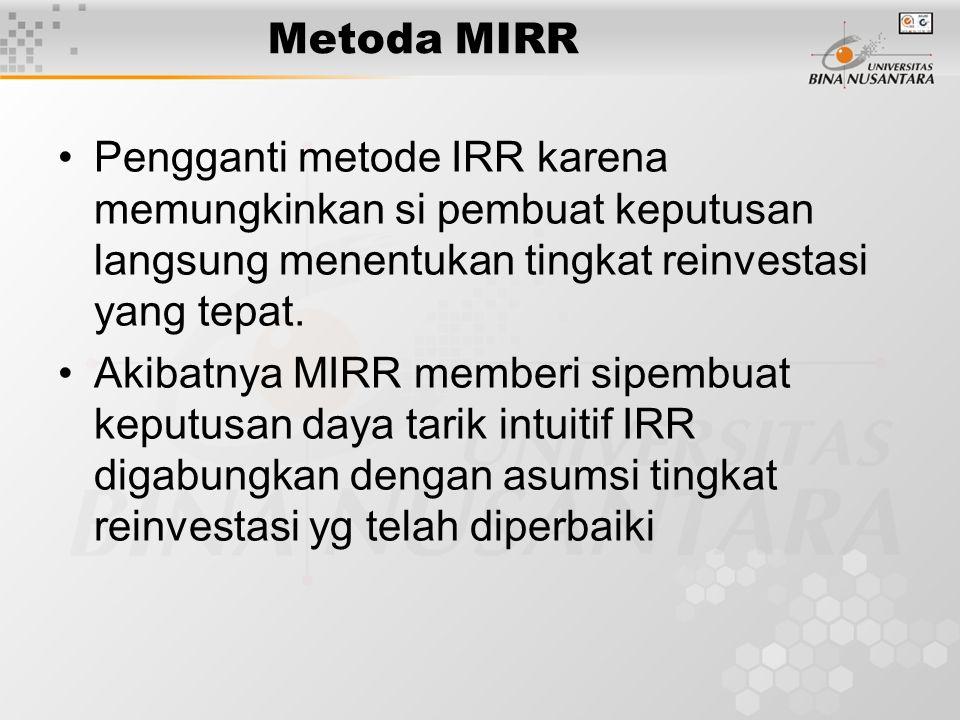 Metoda MIRR Pengganti metode IRR karena memungkinkan si pembuat keputusan langsung menentukan tingkat reinvestasi yang tepat.
