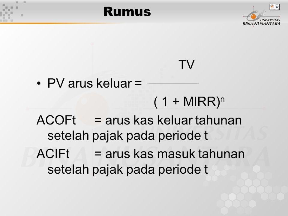Rumus TV. PV arus keluar = ( 1 + MIRR)n. ACOFt = arus kas keluar tahunan setelah pajak pada periode t.