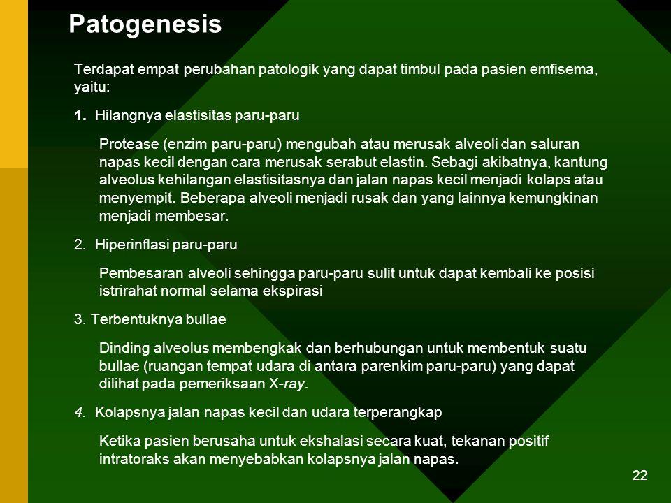 Patogenesis Terdapat empat perubahan patologik yang dapat timbul pada pasien emfisema, yaitu: 1. Hilangnya elastisitas paru-paru.