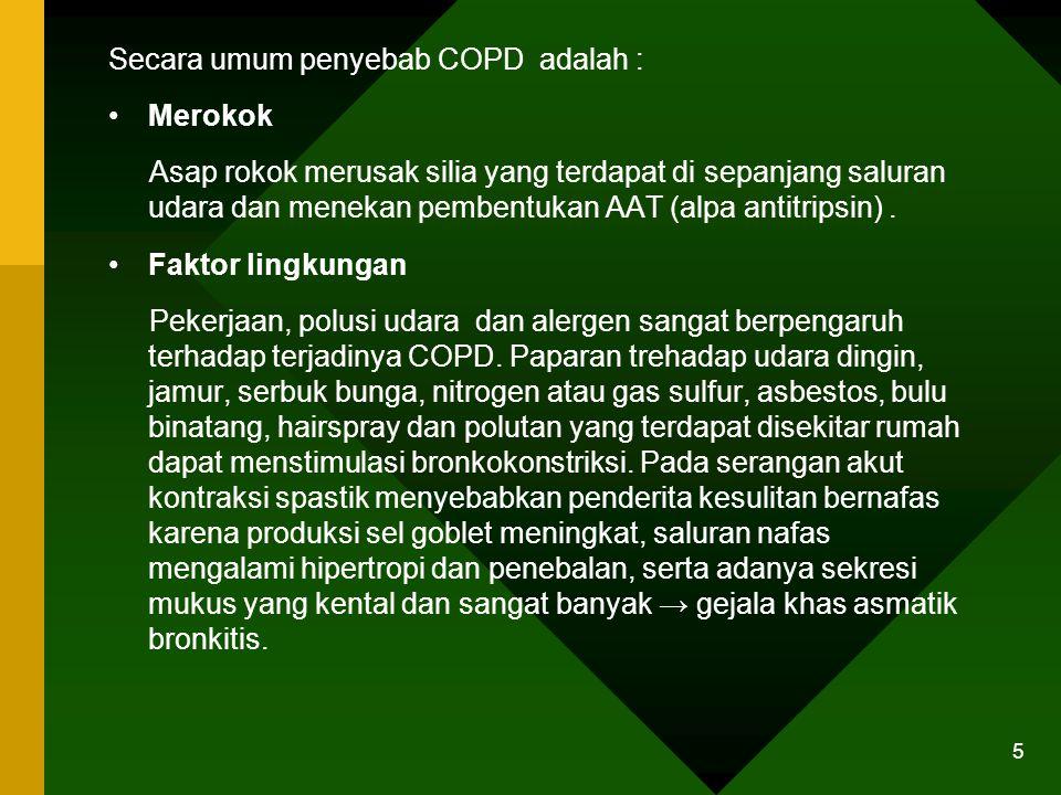 Secara umum penyebab COPD adalah :