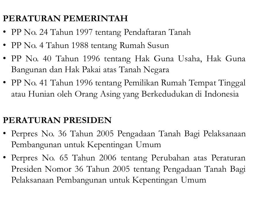 PERATURAN PEMERINTAH PP No. 24 Tahun 1997 tentang Pendaftaran Tanah. PP No. 4 Tahun 1988 tentang Rumah Susun.