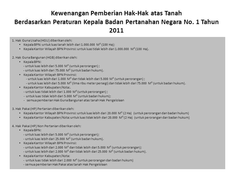 Kewenangan Pemberian Hak-Hak atas Tanah Berdasarkan Peraturan Kepala Badan Pertanahan Negara No. 1 Tahun 2011