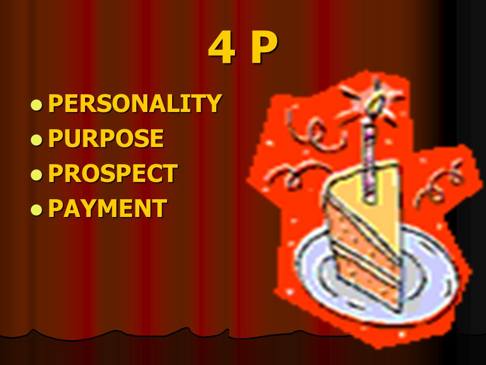 4 P PERSONALITY PURPOSE PROSPECT PAYMENT