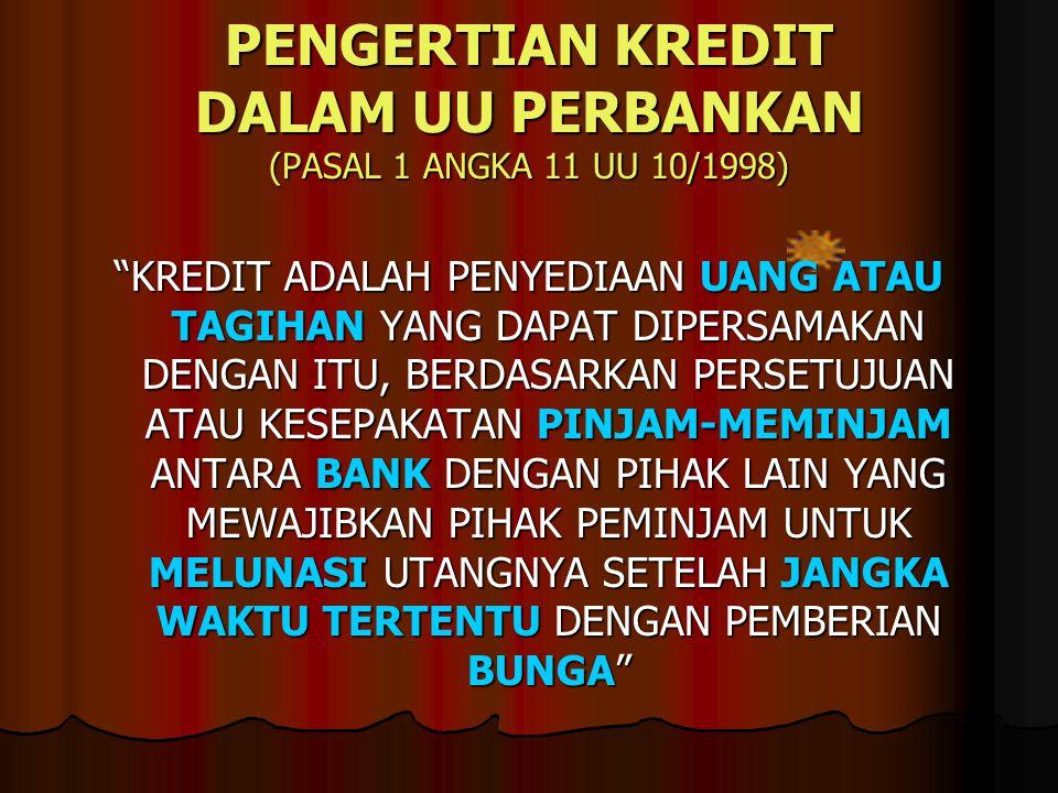 PENGERTIAN KREDIT DALAM UU PERBANKAN (PASAL 1 ANGKA 11 UU 10/1998)