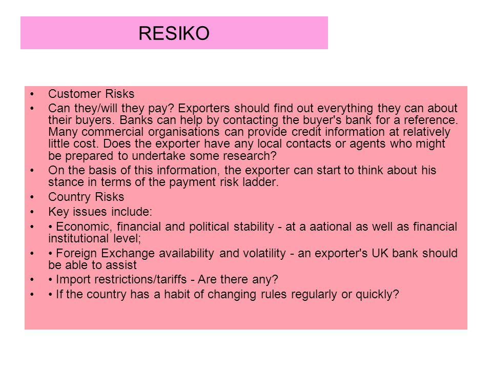 RESIKO Customer Risks.