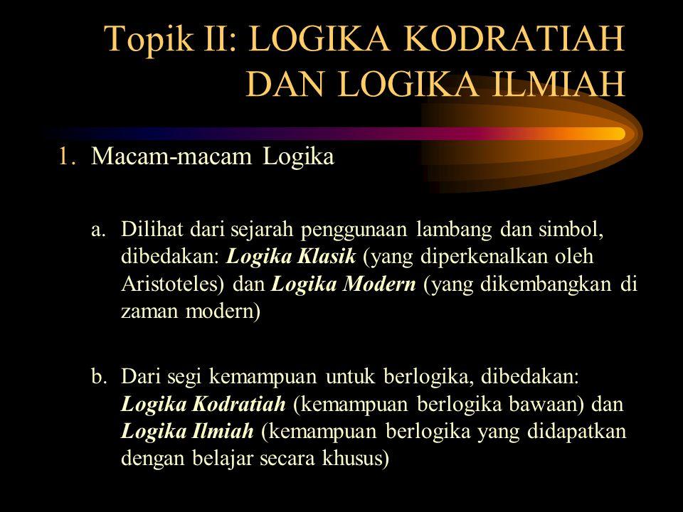 Topik II: LOGIKA KODRATIAH DAN LOGIKA ILMIAH