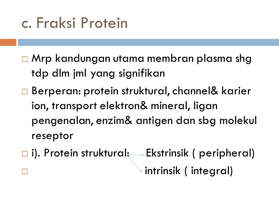 c. Fraksi Protein Mrp kandungan utama membran plasma shg tdp dlm jml yang signifikan.