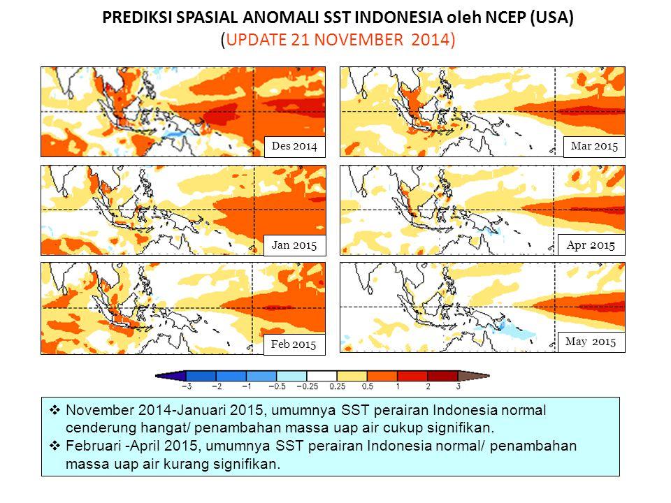 PREDIKSI SPASIAL ANOMALI SST INDONESIA oleh NCEP (USA) (UPDATE 21 NOVEMBER 2014)