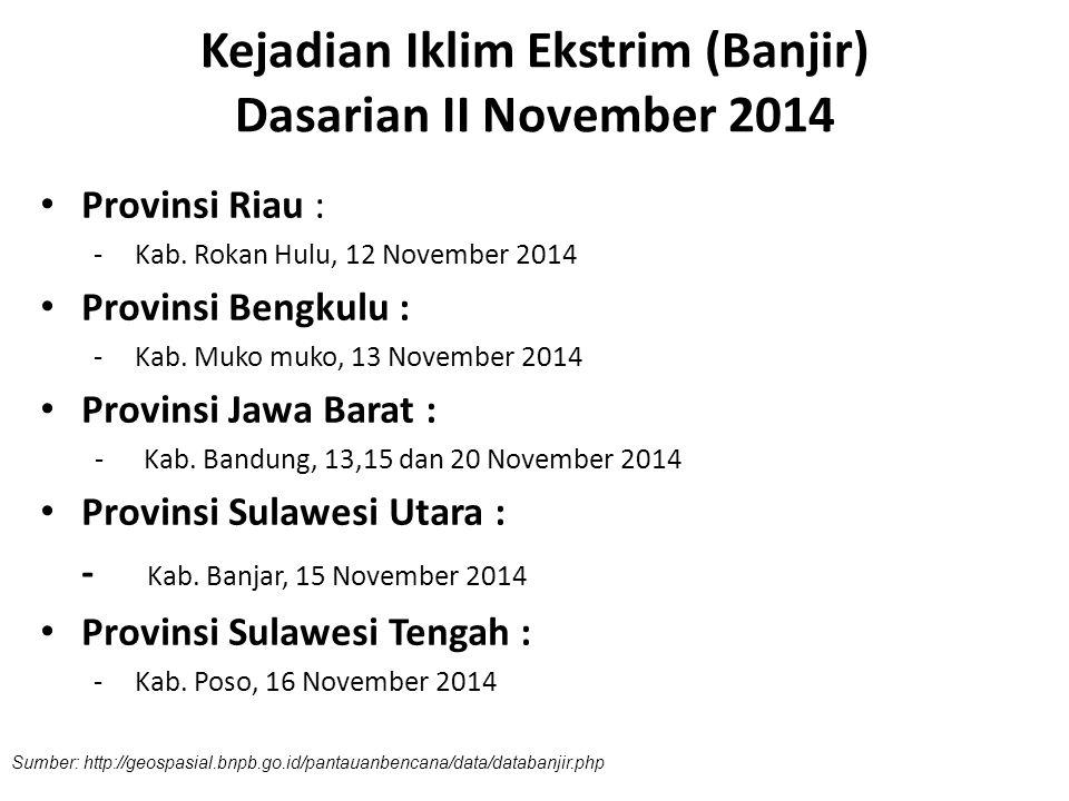 Kejadian Iklim Ekstrim (Banjir) Dasarian II November 2014