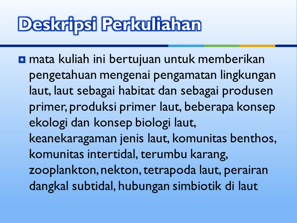 Deskripsi Perkuliahan