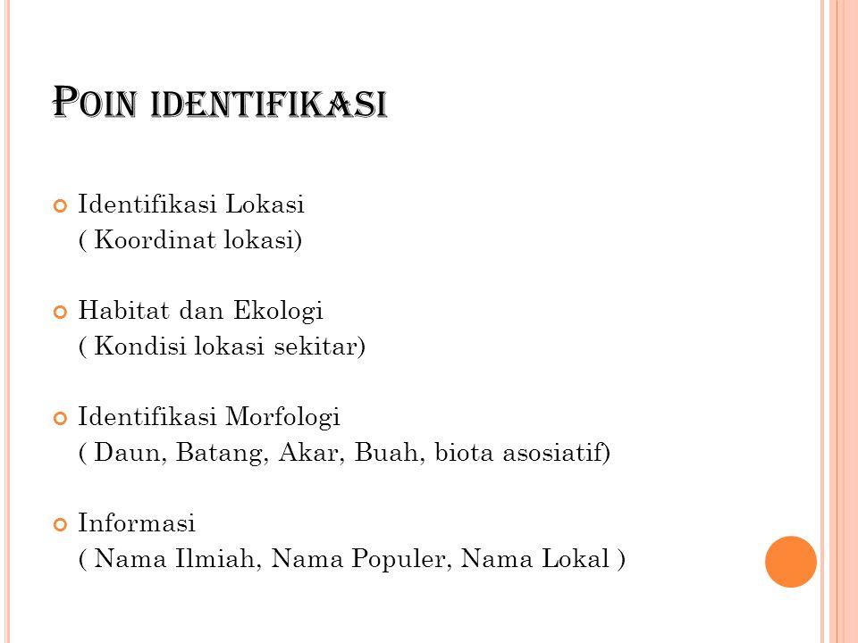 Poin identifikasi Identifikasi Lokasi ( Koordinat lokasi)