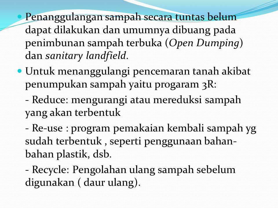 Penanggulangan sampah secara tuntas belum dapat dilakukan dan umumnya dibuang pada penimbunan sampah terbuka (Open Dumping) dan sanitary landfield.