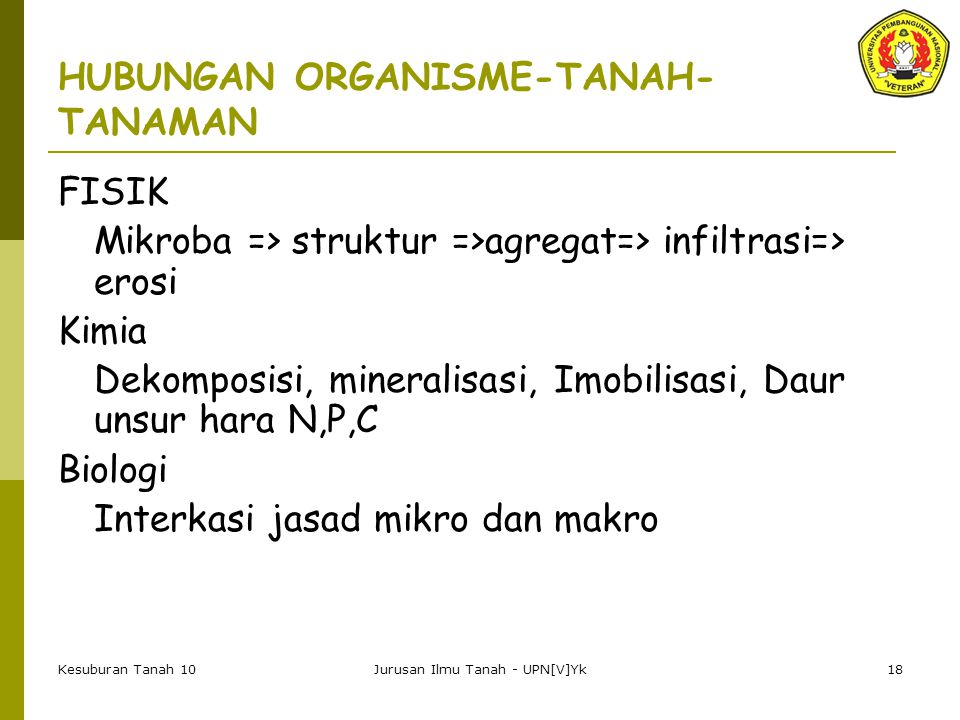 HUBUNGAN ORGANISME-TANAH-TANAMAN