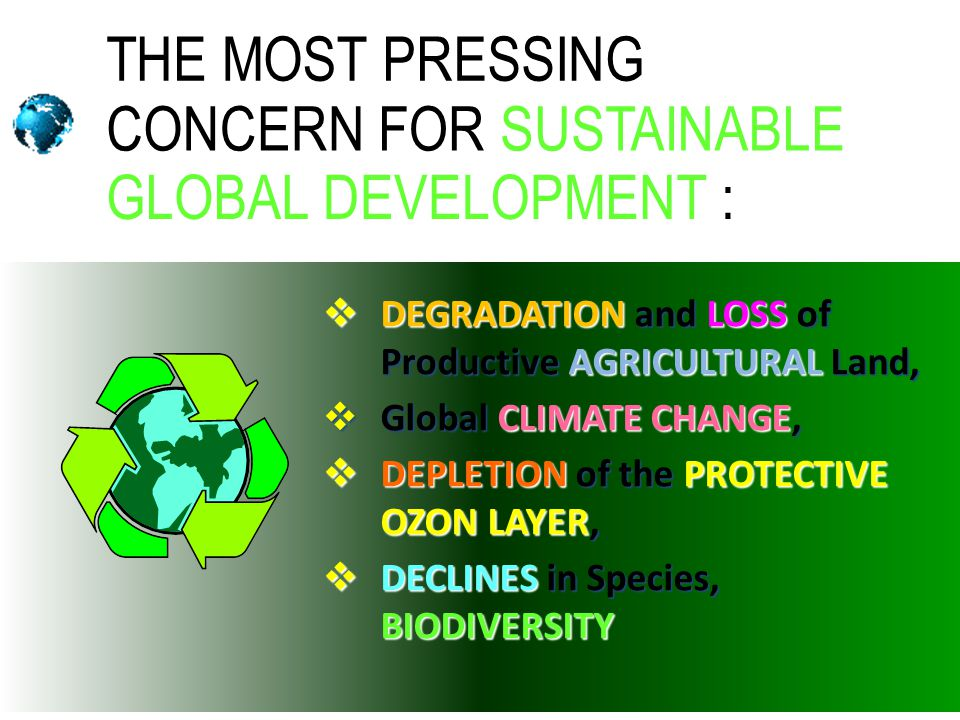 THE MOST PRESSING CONCERN FOR SUSTAINABLE GLOBAL DEVELOPMENT :