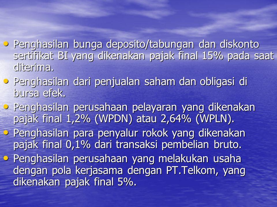 Penghasilan bunga deposito/tabungan dan diskonto sertifikat BI yang dikenakan pajak final 15% pada saat diterima.