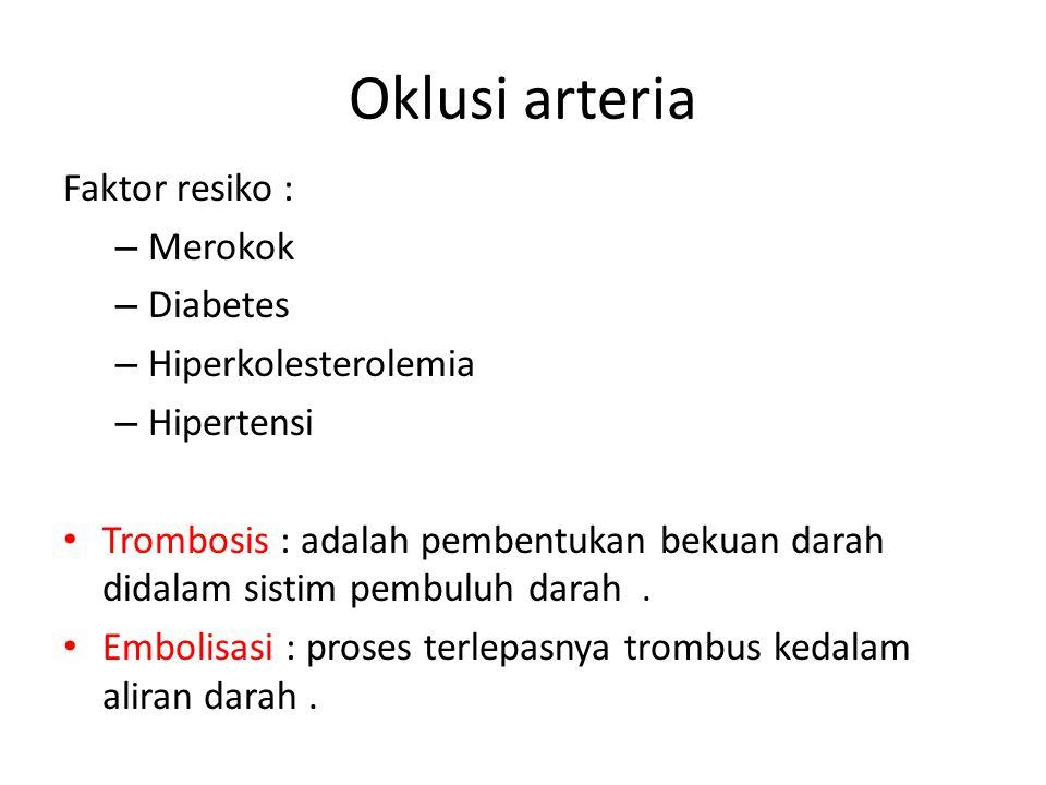 Oklusi arteria Faktor resiko : Merokok Diabetes Hiperkolesterolemia