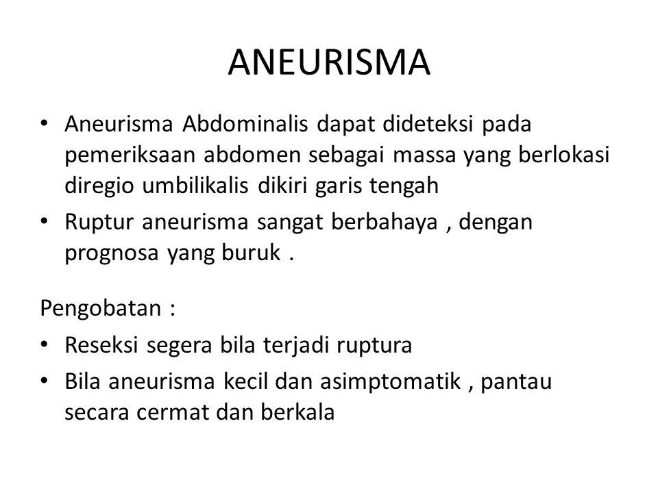 ANEURISMA Aneurisma Abdominalis dapat dideteksi pada pemeriksaan abdomen sebagai massa yang berlokasi diregio umbilikalis dikiri garis tengah.
