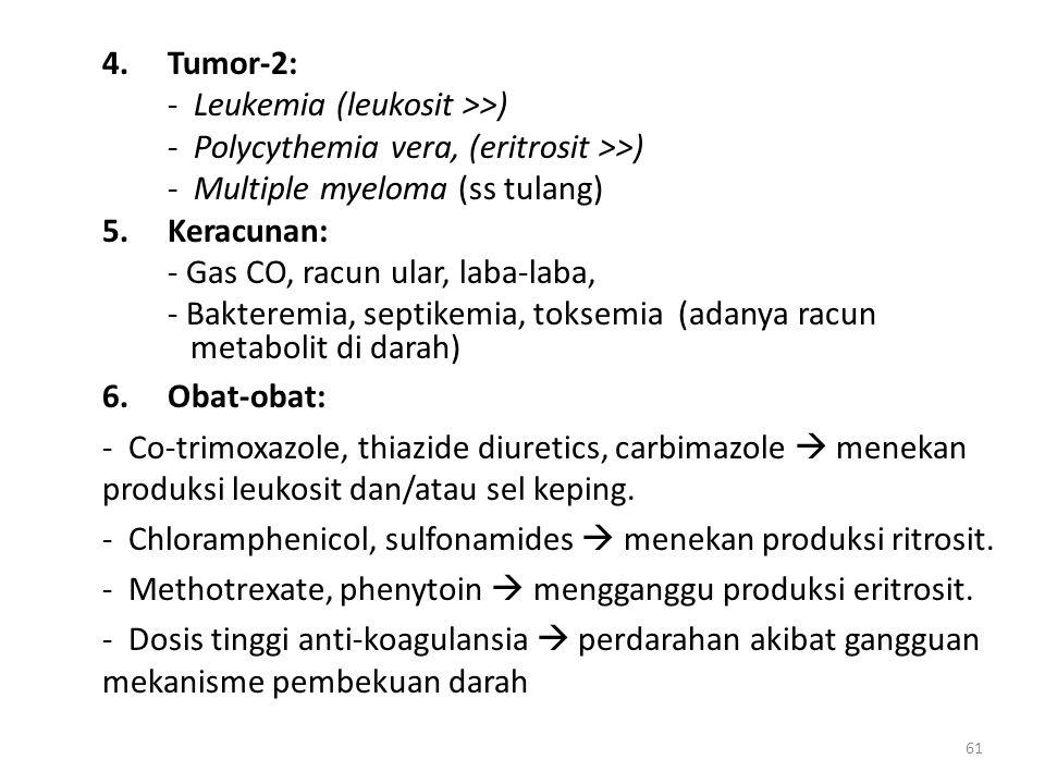 4. Tumor-2: - Leukemia (leukosit >>) - Polycythemia vera, (eritrosit >>) - Multiple myeloma (ss tulang)