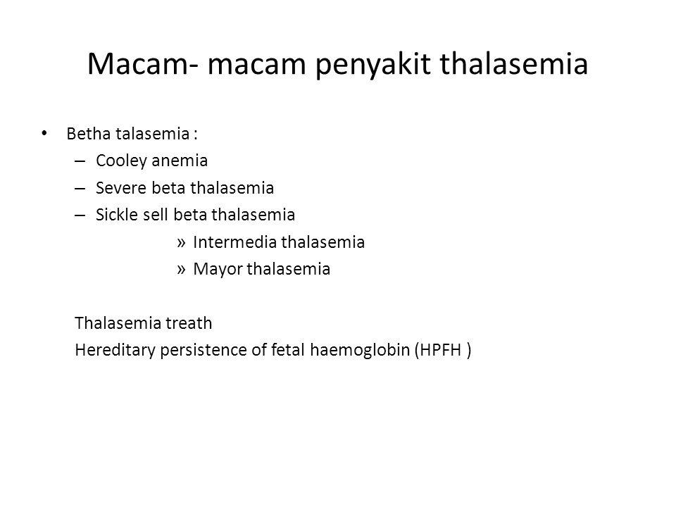 Macam- macam penyakit thalasemia