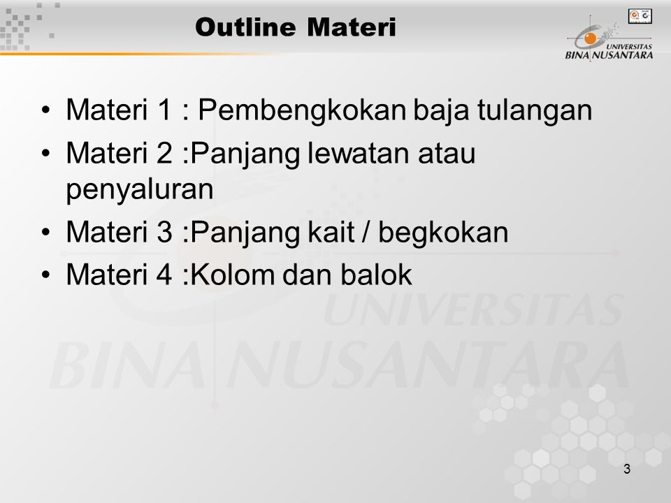 Materi 1 : Pembengkokan baja tulangan