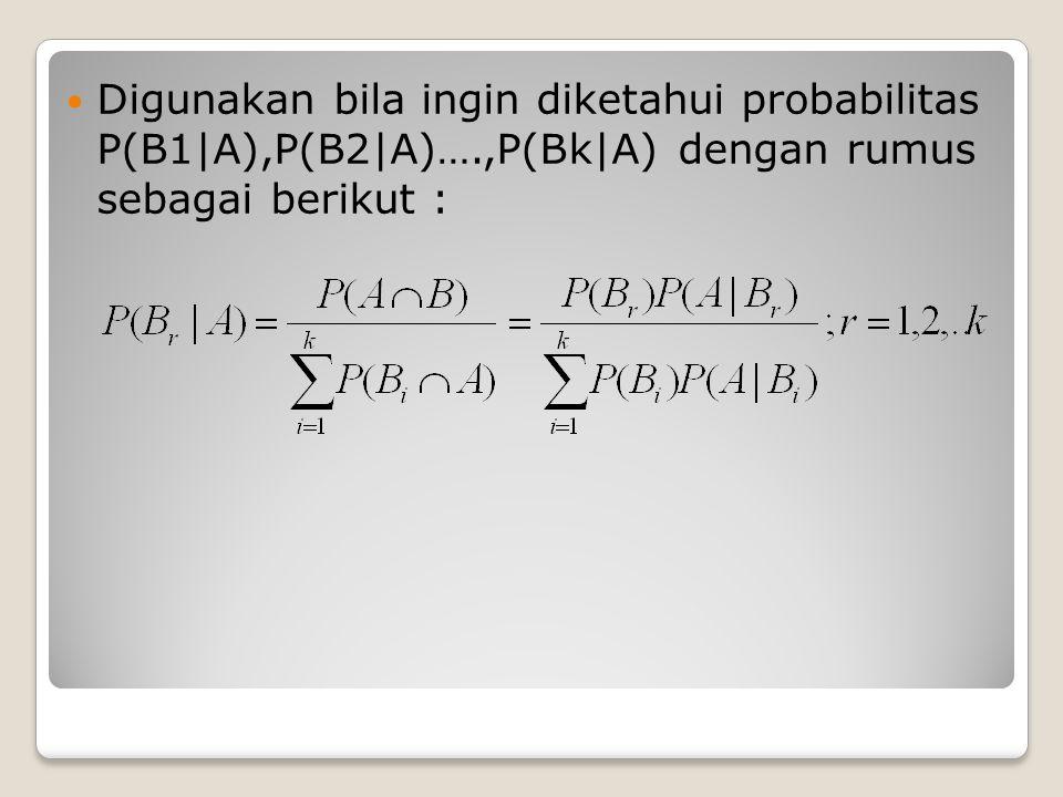 Digunakan bila ingin diketahui probabilitas P(B1|A),P(B2|A)…