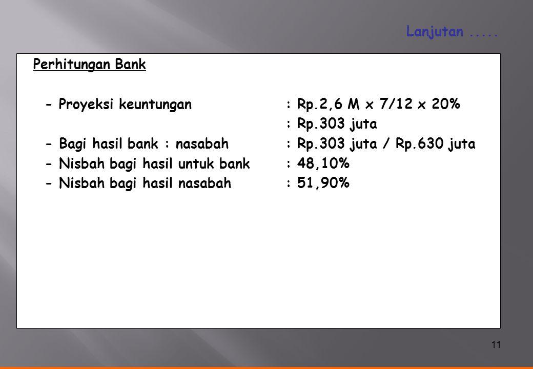 - Proyeksi keuntungan : Rp.2,6 M x 7/12 x 20% : Rp.303 juta