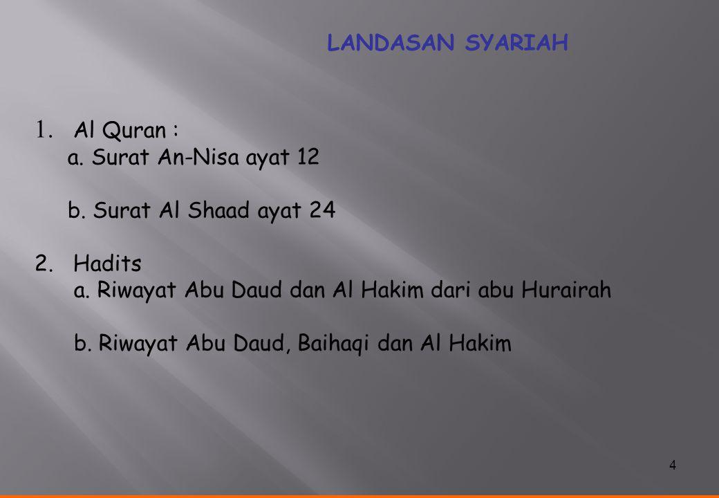 1. Al Quran : LANDASAN SYARIAH a. Surat An-Nisa ayat 12