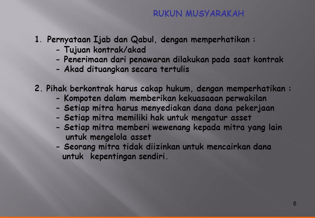1. Pernyataan Ijab dan Qabul, dengan memperhatikan :