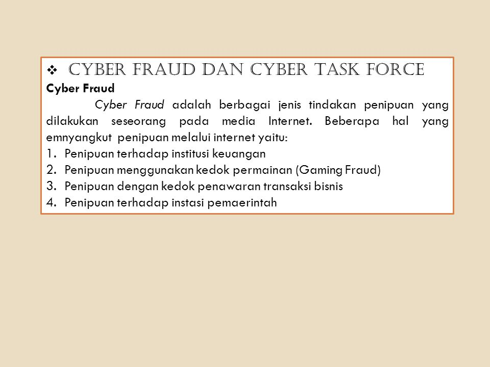 Cyber Fraud dan Cyber Task Force