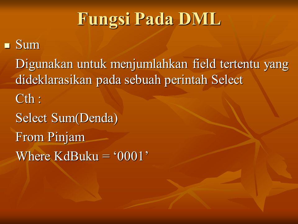 Fungsi Pada DML Sum. Digunakan untuk menjumlahkan field tertentu yang dideklarasikan pada sebuah perintah Select.