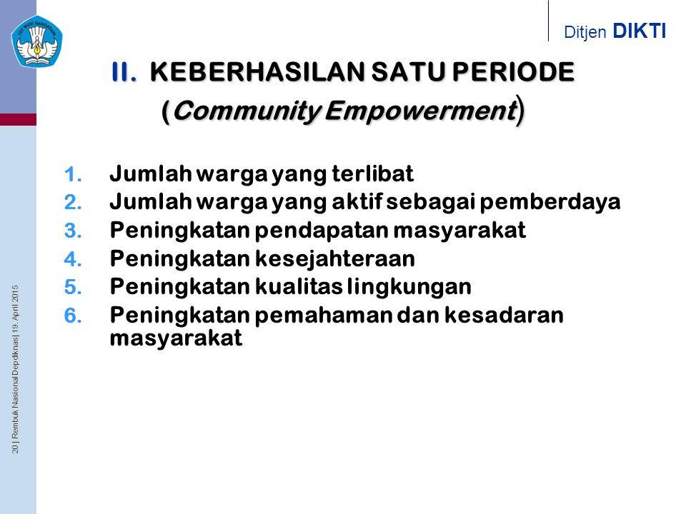 II. KEBERHASILAN SATU PERIODE (Community Empowerment)