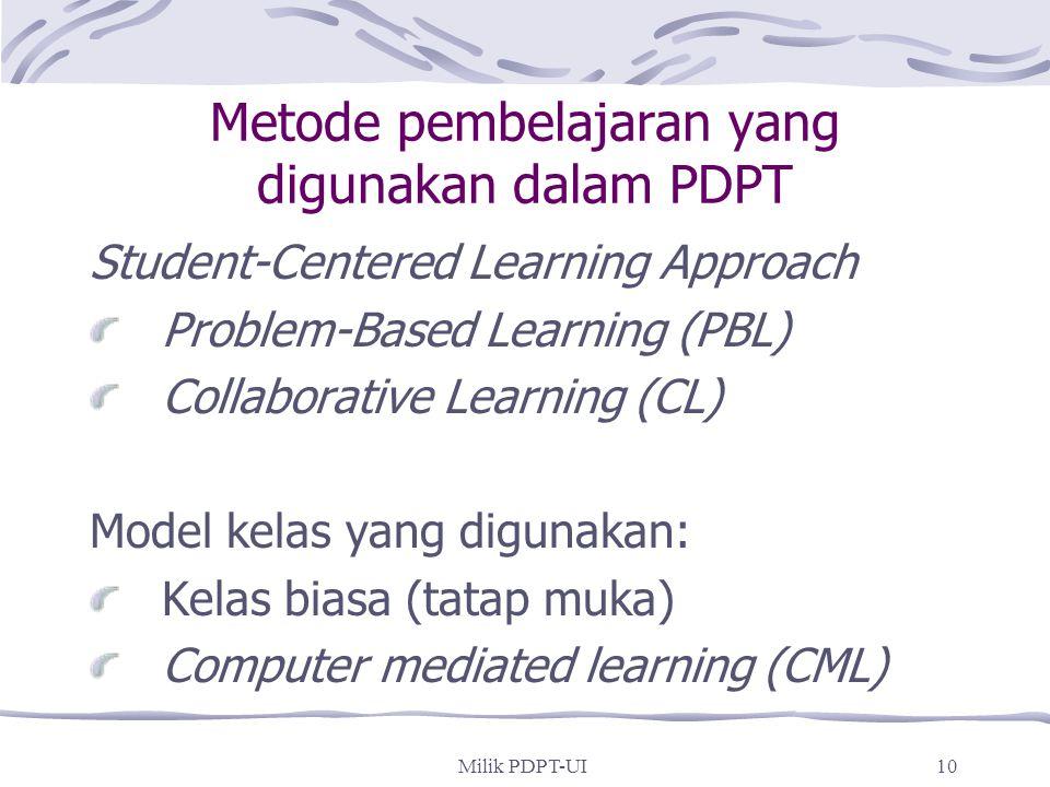 Metode pembelajaran yang digunakan dalam PDPT