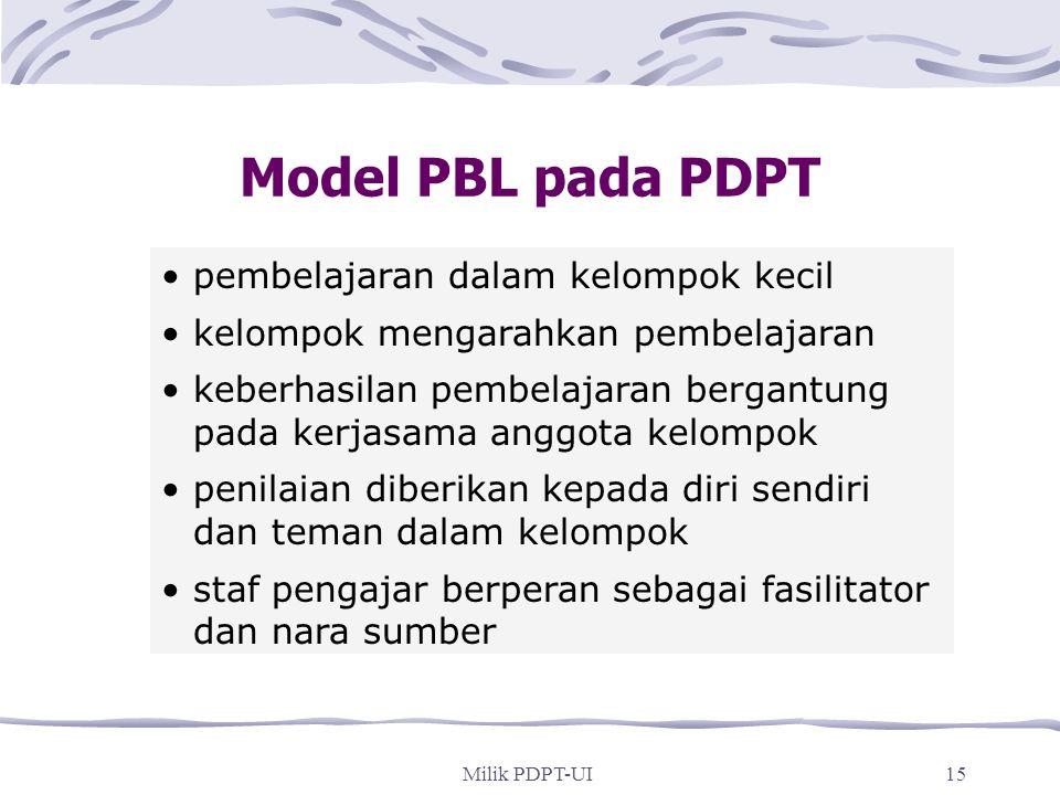 Model PBL pada PDPT pembelajaran dalam kelompok kecil