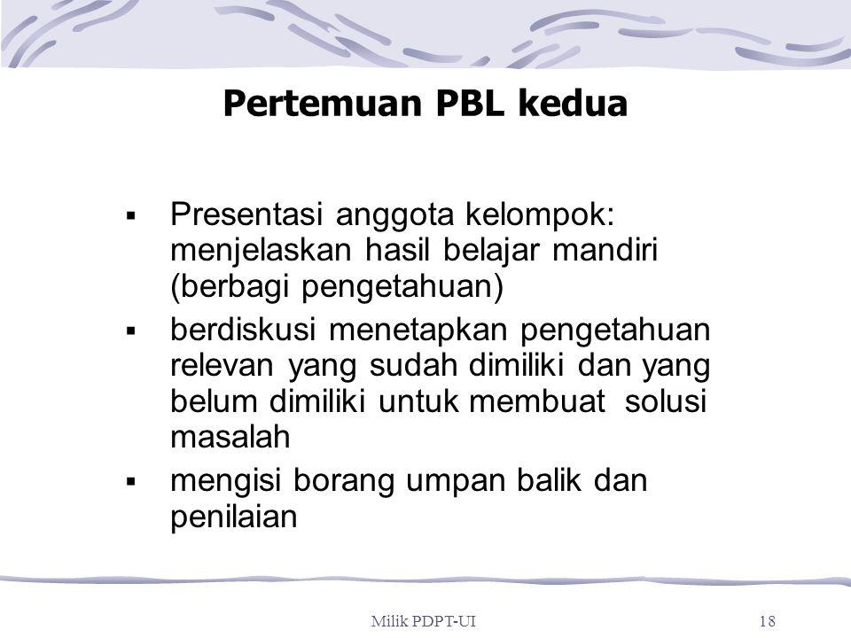 Pertemuan PBL kedua Presentasi anggota kelompok: menjelaskan hasil belajar mandiri (berbagi pengetahuan)