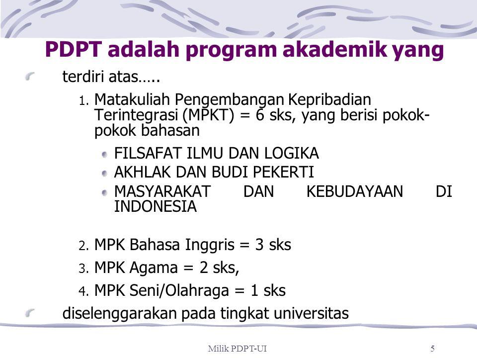 PDPT adalah program akademik yang