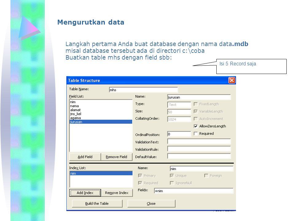 Mengurutkan data Langkah pertama Anda buat database dengan nama data.mdb. misal database tersebut ada di directori c:\coba.