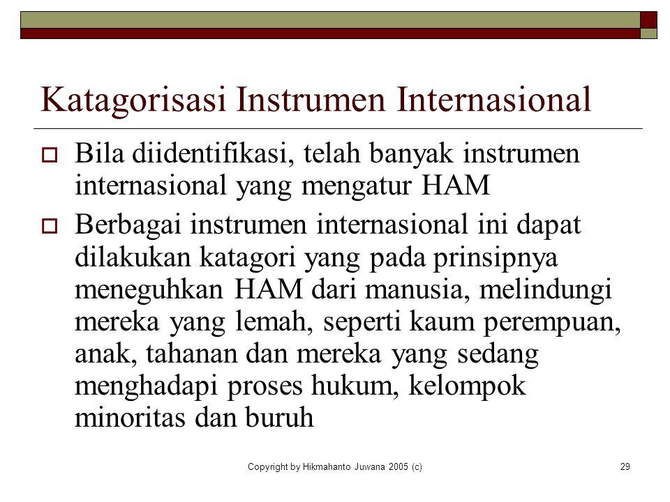 Katagorisasi Instrumen Internasional