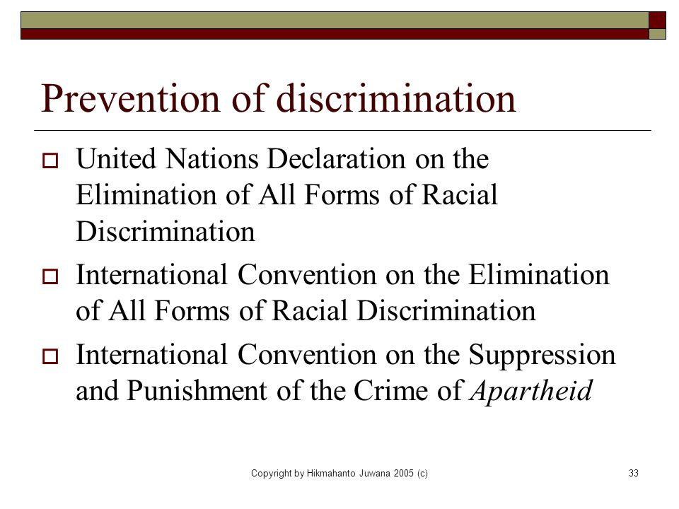 Prevention of discrimination