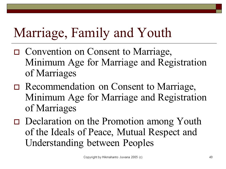 Marriage, Family and Youth