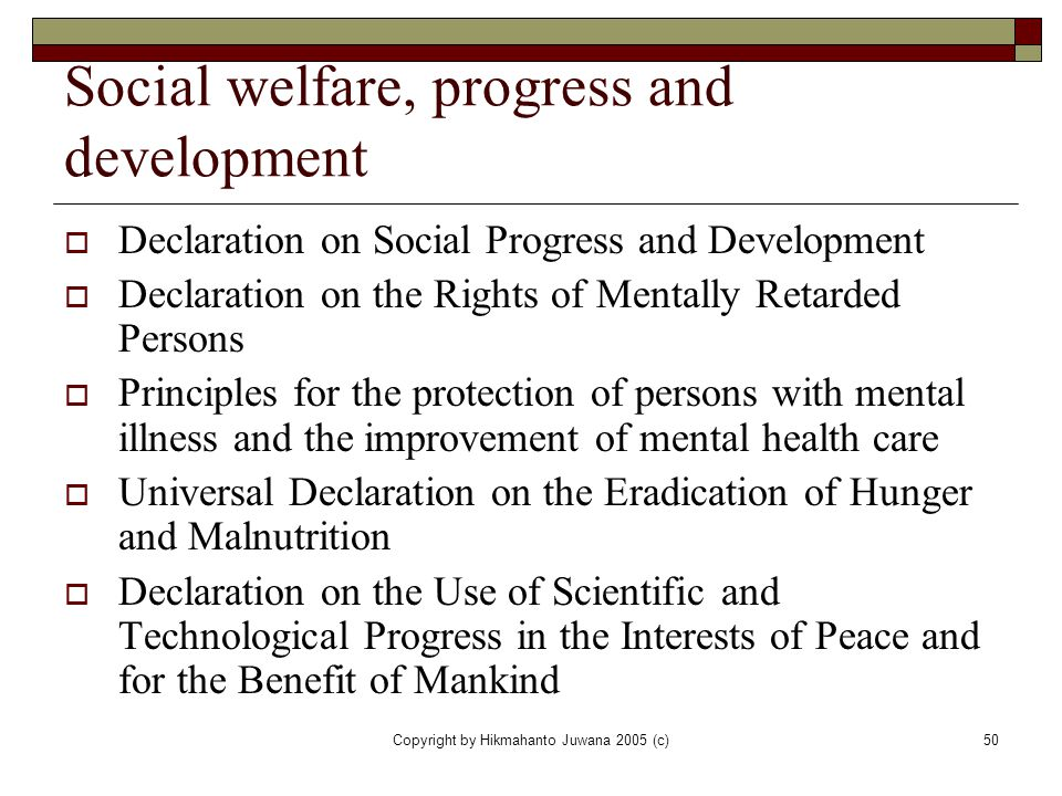 Social welfare, progress and development