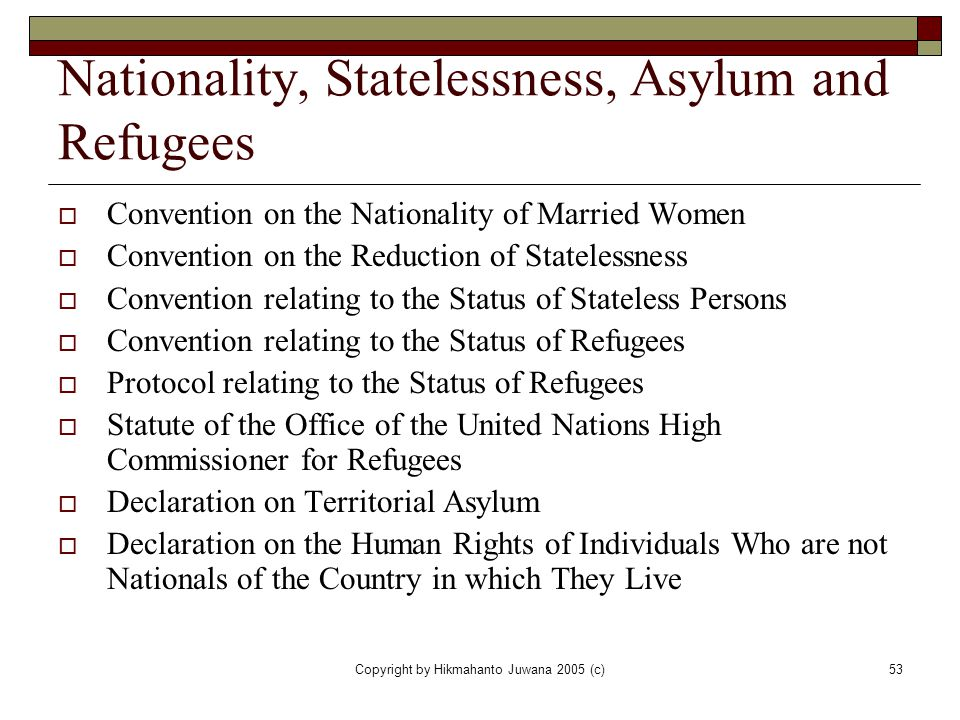 Nationality, Statelessness, Asylum and Refugees