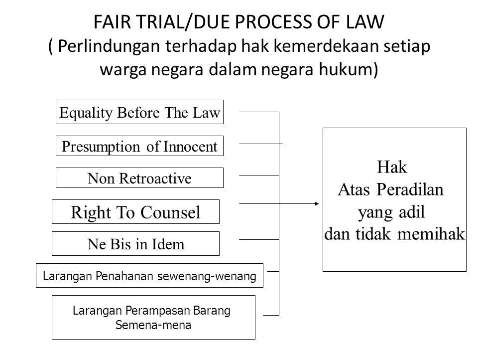 FAIR TRIAL/DUE PROCESS OF LAW ( Perlindungan terhadap hak kemerdekaan setiap warga negara dalam negara hukum)