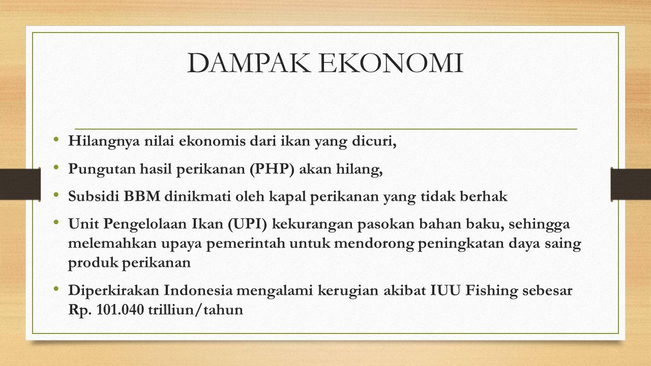 DAMPAK EKONOMI Hilangnya nilai ekonomis dari ikan yang dicuri,