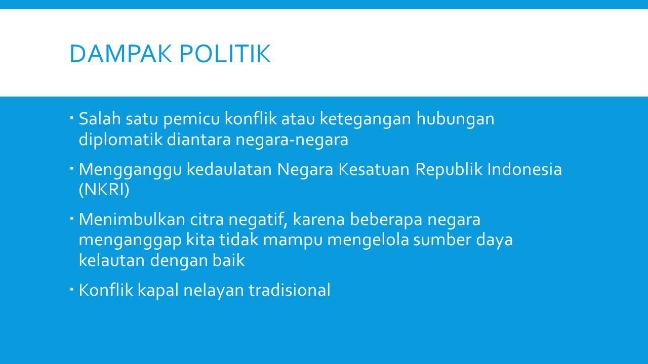 DAMPAK POLITIK Salah satu pemicu konflik atau ketegangan hubungan diplomatik diantara negara-negara.