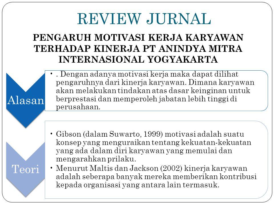 REVIEW JURNAL PENGARUH MOTIVASI KERJA KARYAWAN TERHADAP KINERJA PT ANINDYA MITRA INTERNASIONAL YOGYAKARTA.