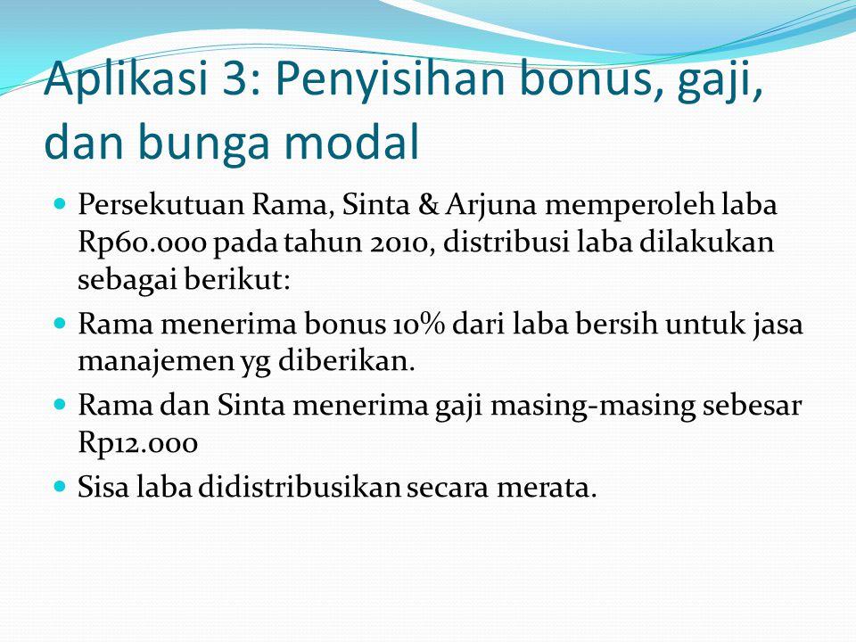 Aplikasi 3: Penyisihan bonus, gaji, dan bunga modal
