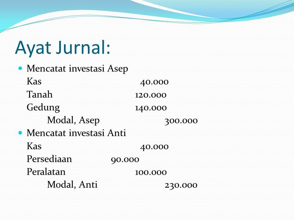 Ayat Jurnal: Mencatat investasi Asep Kas 40.000 Tanah 120.000